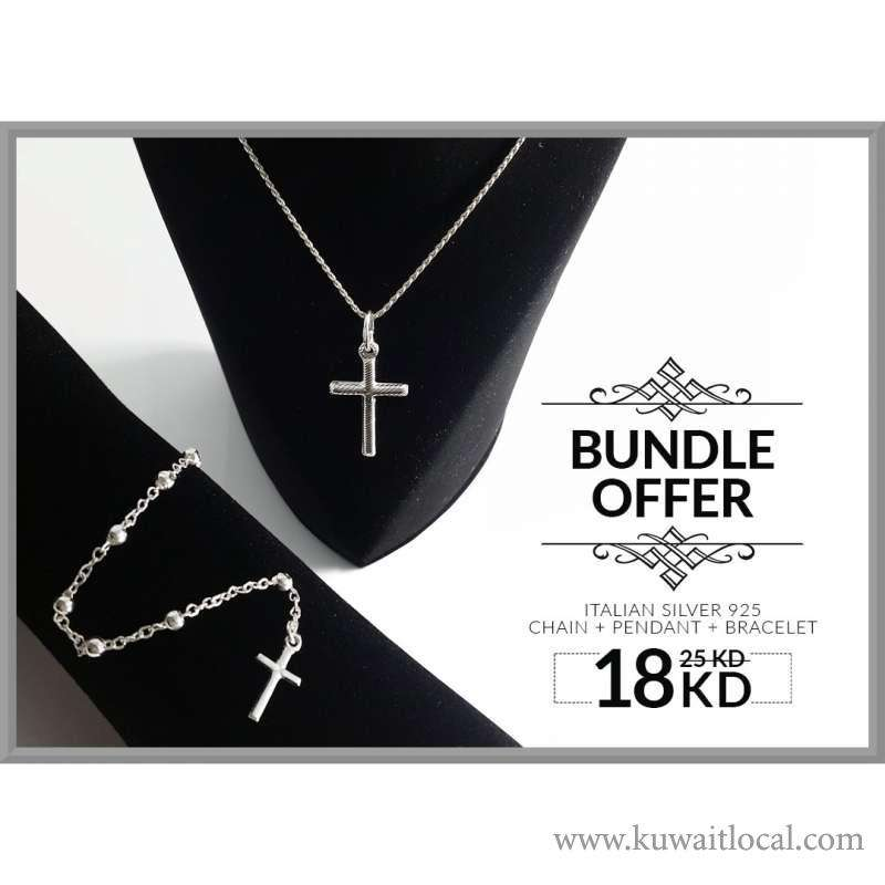 buy-online-cross-silver-necklace-and-cross-silver-bracelet-at-18kd-only-kuwait