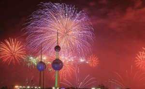 Fireworks At Kuwait Towers - 5th March 2016 in kuwait
