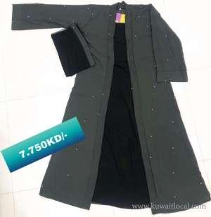 offer-sale-double-layer-stylish-abaya-ashy-black-with-pearl-design-kuwait